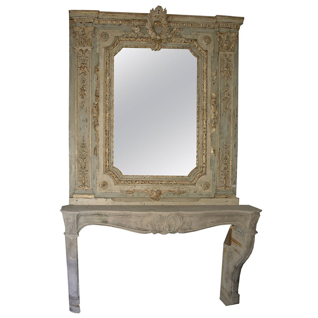 antique fireplace and its original mirror for sale at 1stdibs