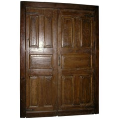 Antique door in brown oak, double wing and frame, saloon opening push/pull, '700