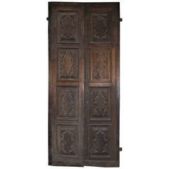 Antique Carved Double Door Made of Walnut
