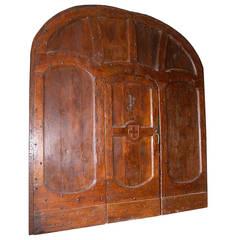 Antique Doorway with Its Original Door Made of Chestnut and Walnut