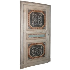 Antique Lacquered Door with Original Frame