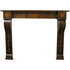 Antique Inlaid Walnut Wood Fireplace Mantel, 19th Century
