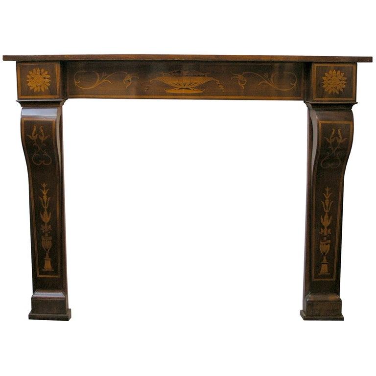 Antique Inlaid Walnut Wood Fireplace Mantel, 19th Century For Sale