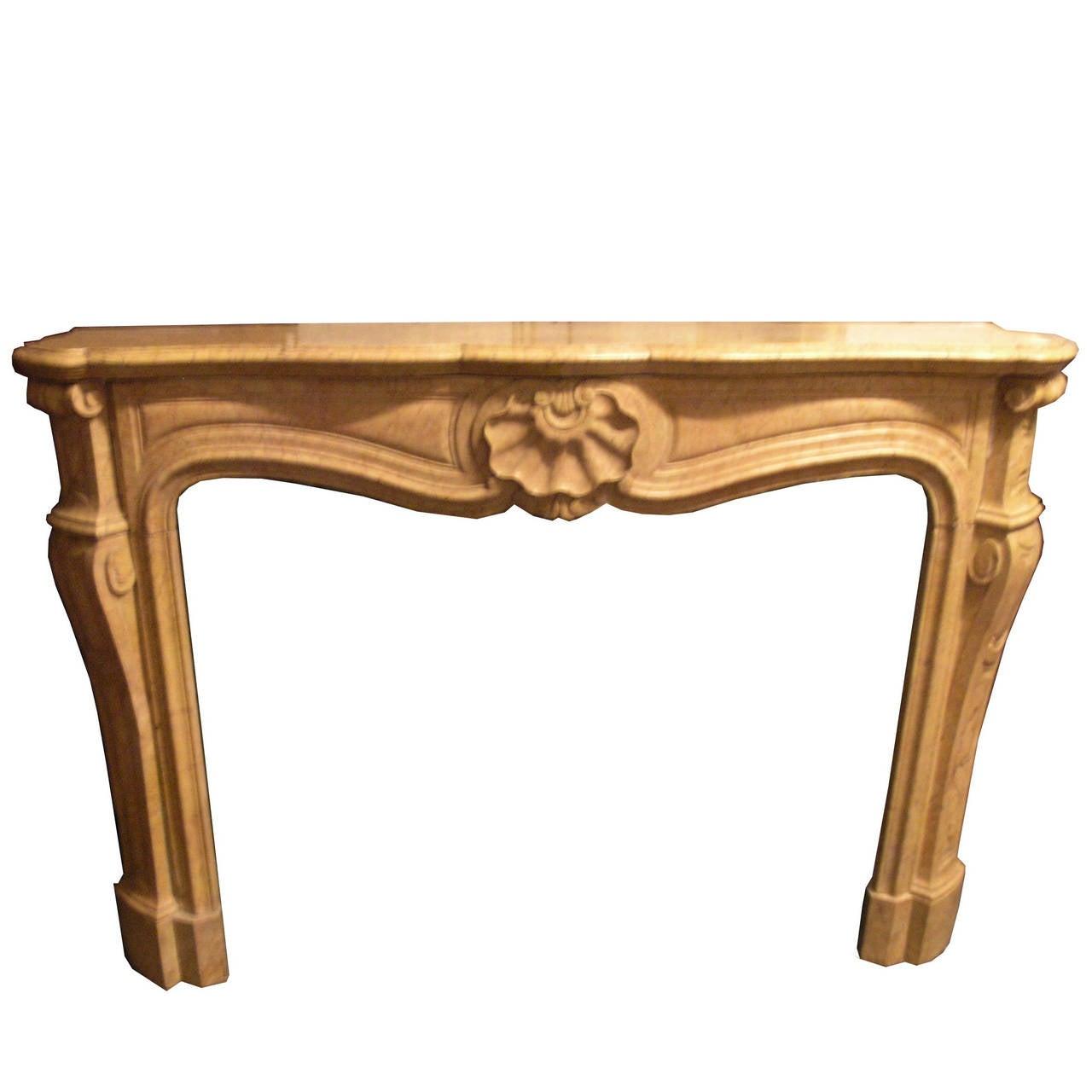 Antique Pietra Gialla Di Verona Fireplace Mantel
