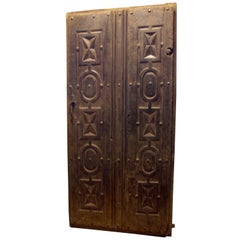 Antique main door hand-carved, in black patina, '500 Italy