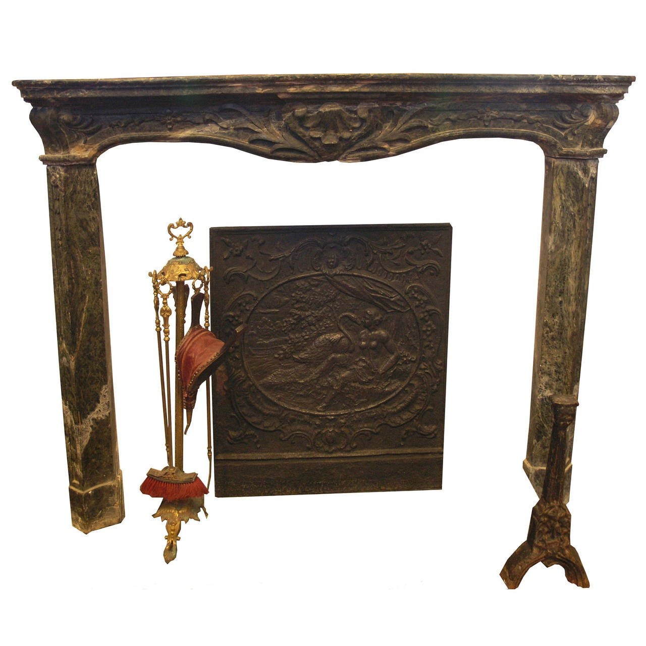 Antique verde alpi marble fireplace mantel for sale at 1stdibs for Marble mantels for sale