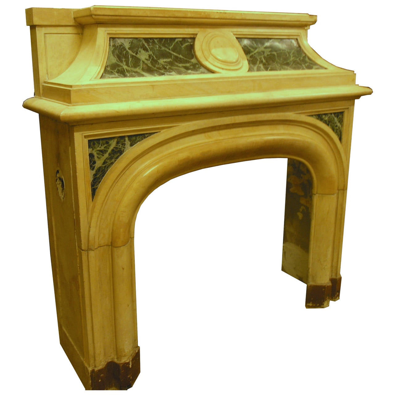 Antique verde alpi and giallo siena 39 s marble fireplace for Marble mantels for sale