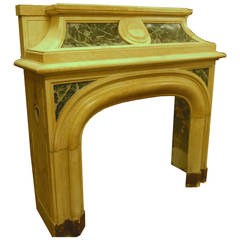 Antique Verde Alpi and Giallo Siena's Marble Fireplace Mantel