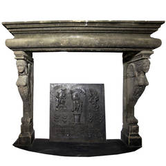 Antique Fireplace with Caryatids