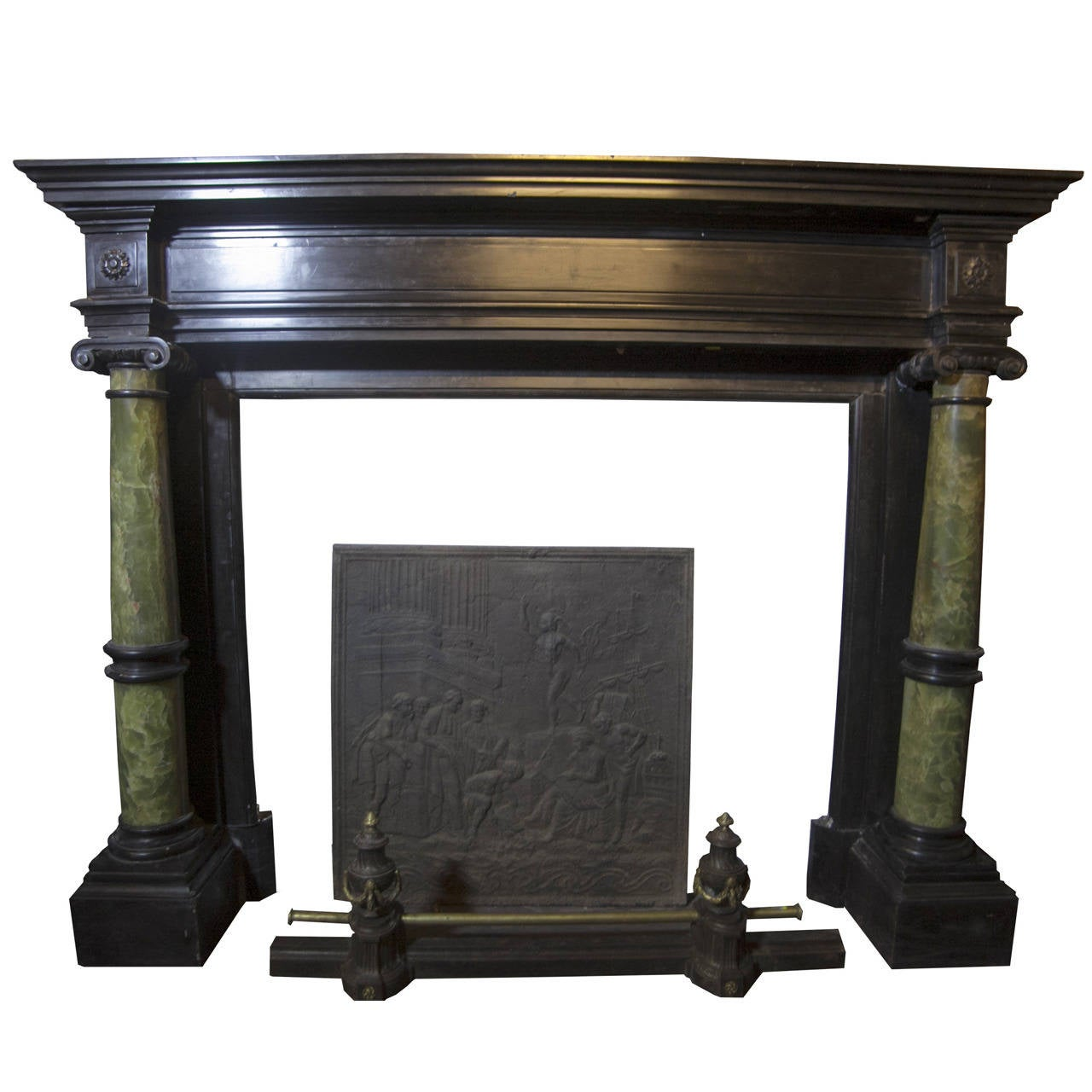 Antique Fireplace Black Belgian Marble and Green Onyx