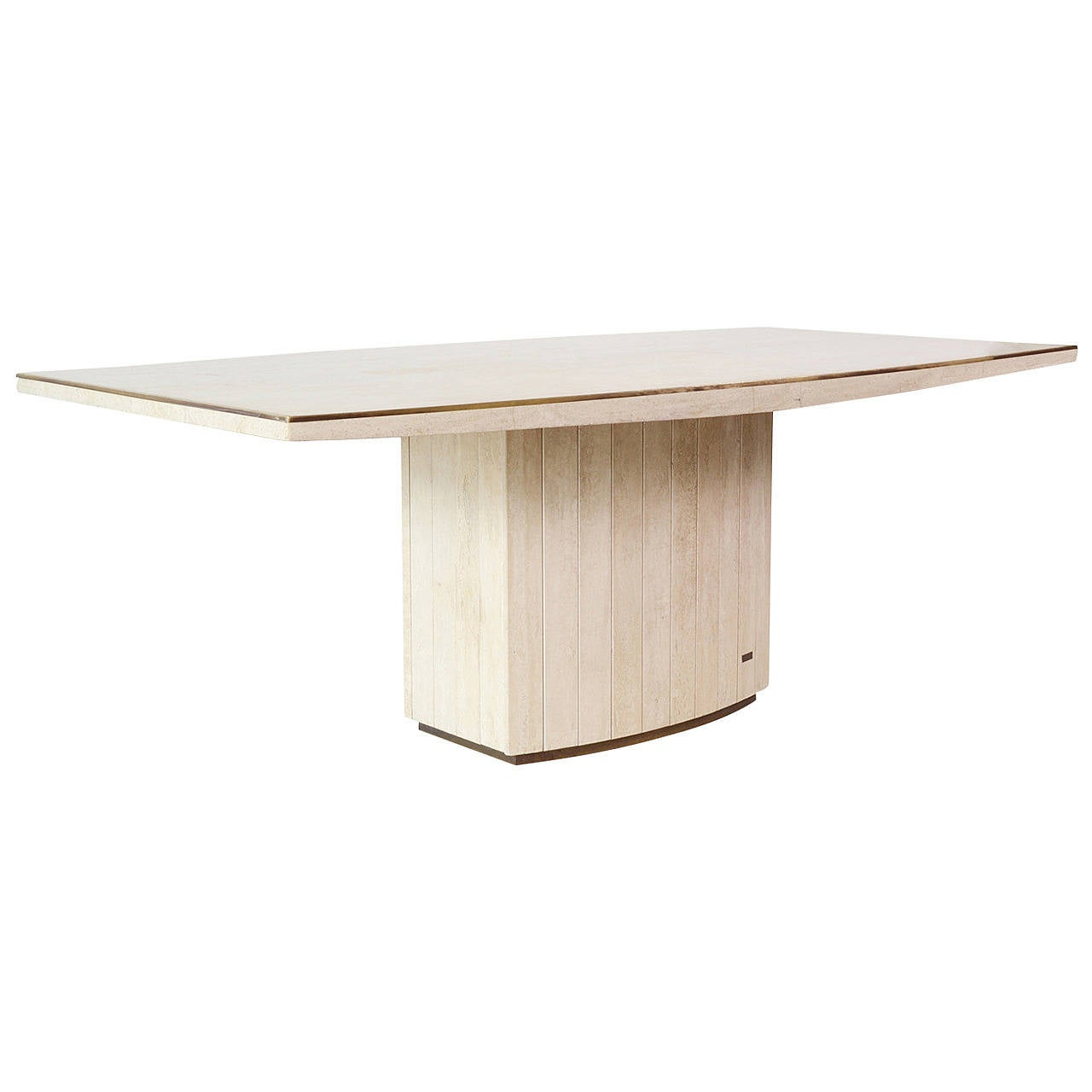 travertine dining tablewilly rizzo for jean charles at 1stdibs
