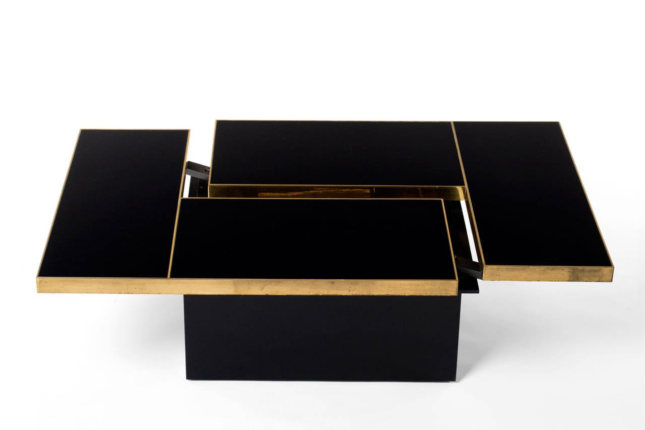 Brass And Black Mirror Cocktail Table With Liquor Storage