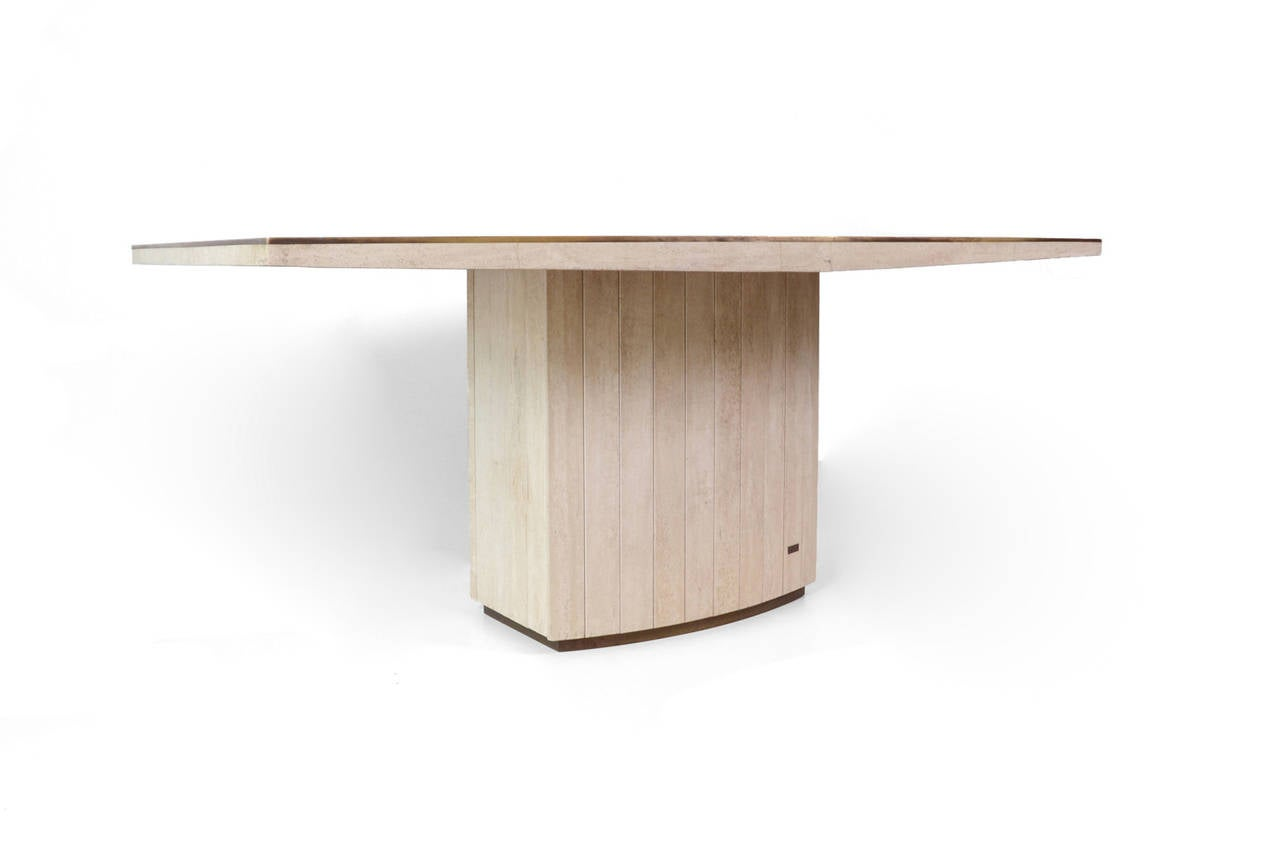 Travertine Dining Room Table Travertine Dining Table By Willy Rizzo For Jean Charles At 1stdibs
