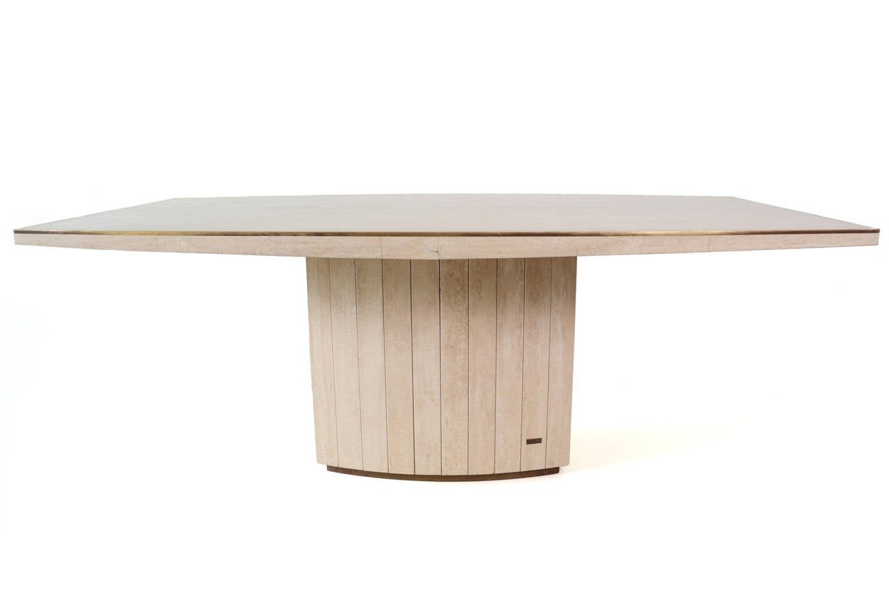 Travertine dining table by willy rizzo for jean charles at for Table willy rizzo