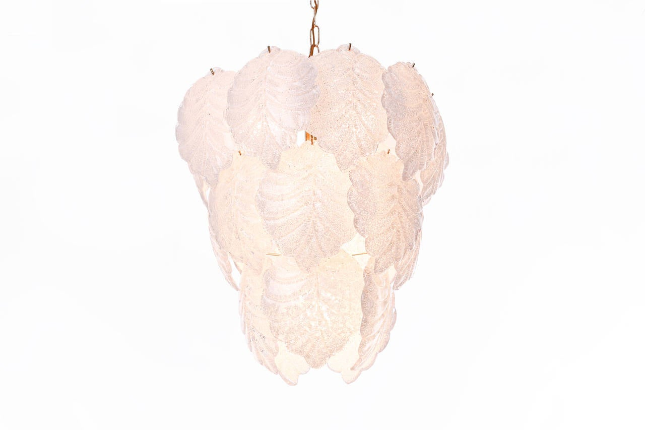 Murano Leaf Chandelier By Mazzega At 1stdibs