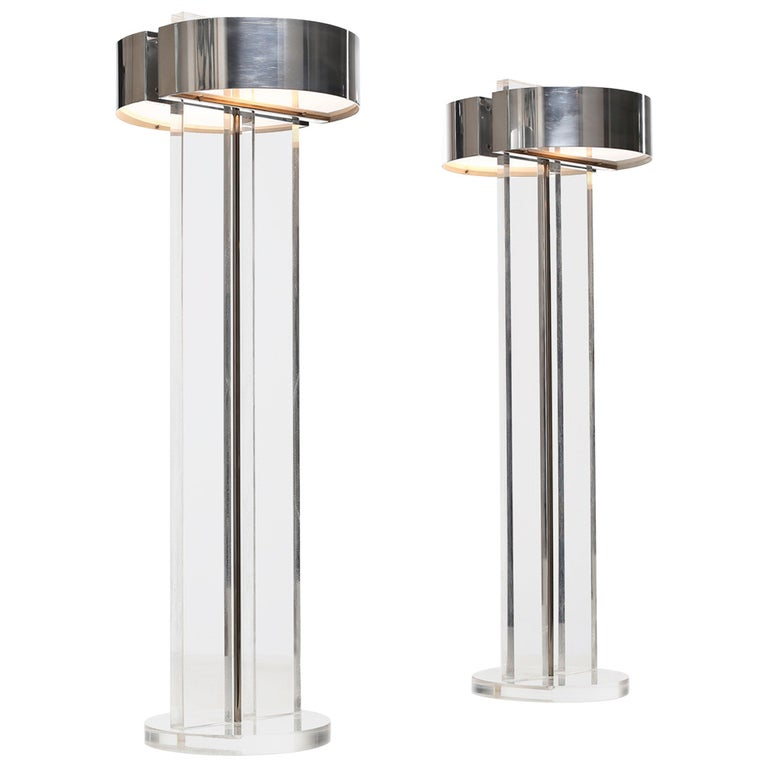 Exclusive Set of Large Lucite Table Lamps