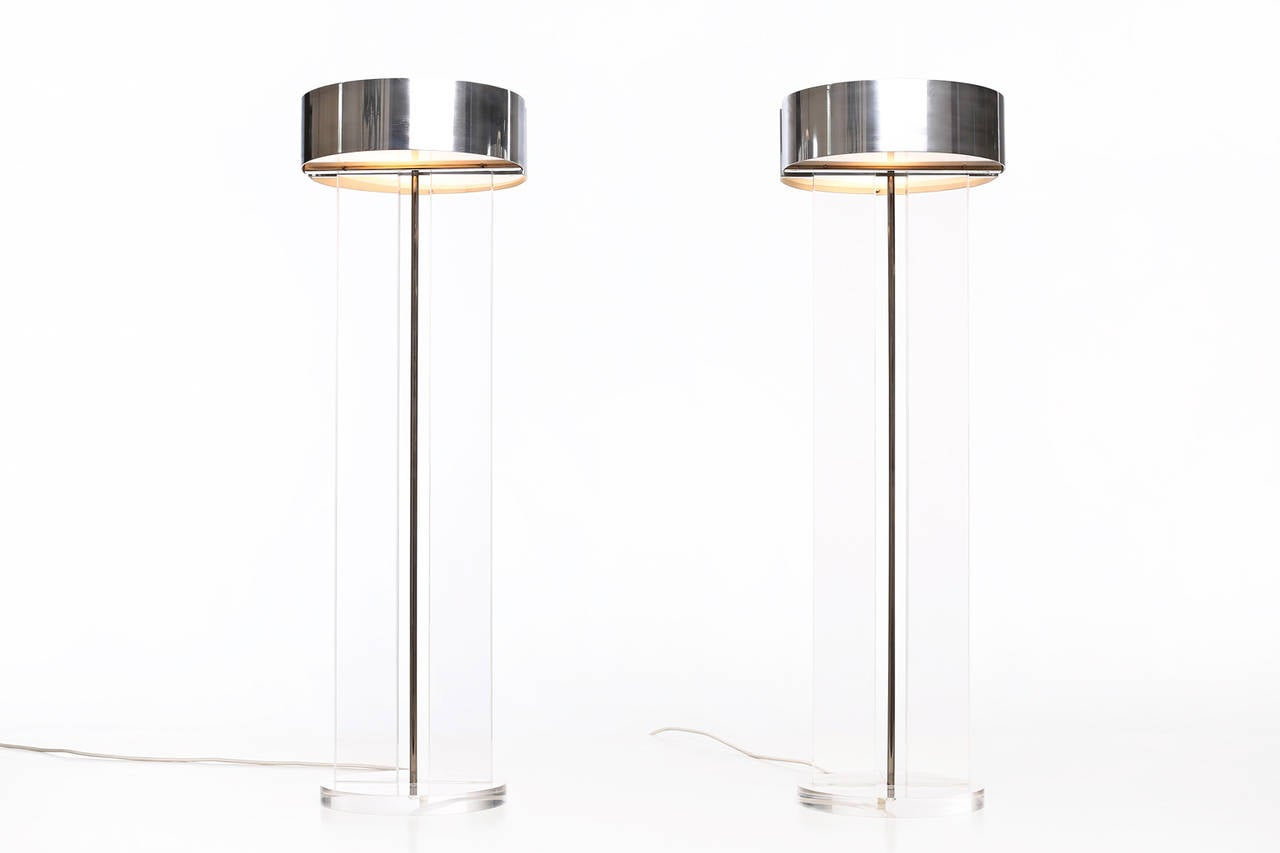 American Exclusive Set of Large Lucite Table Lamps
