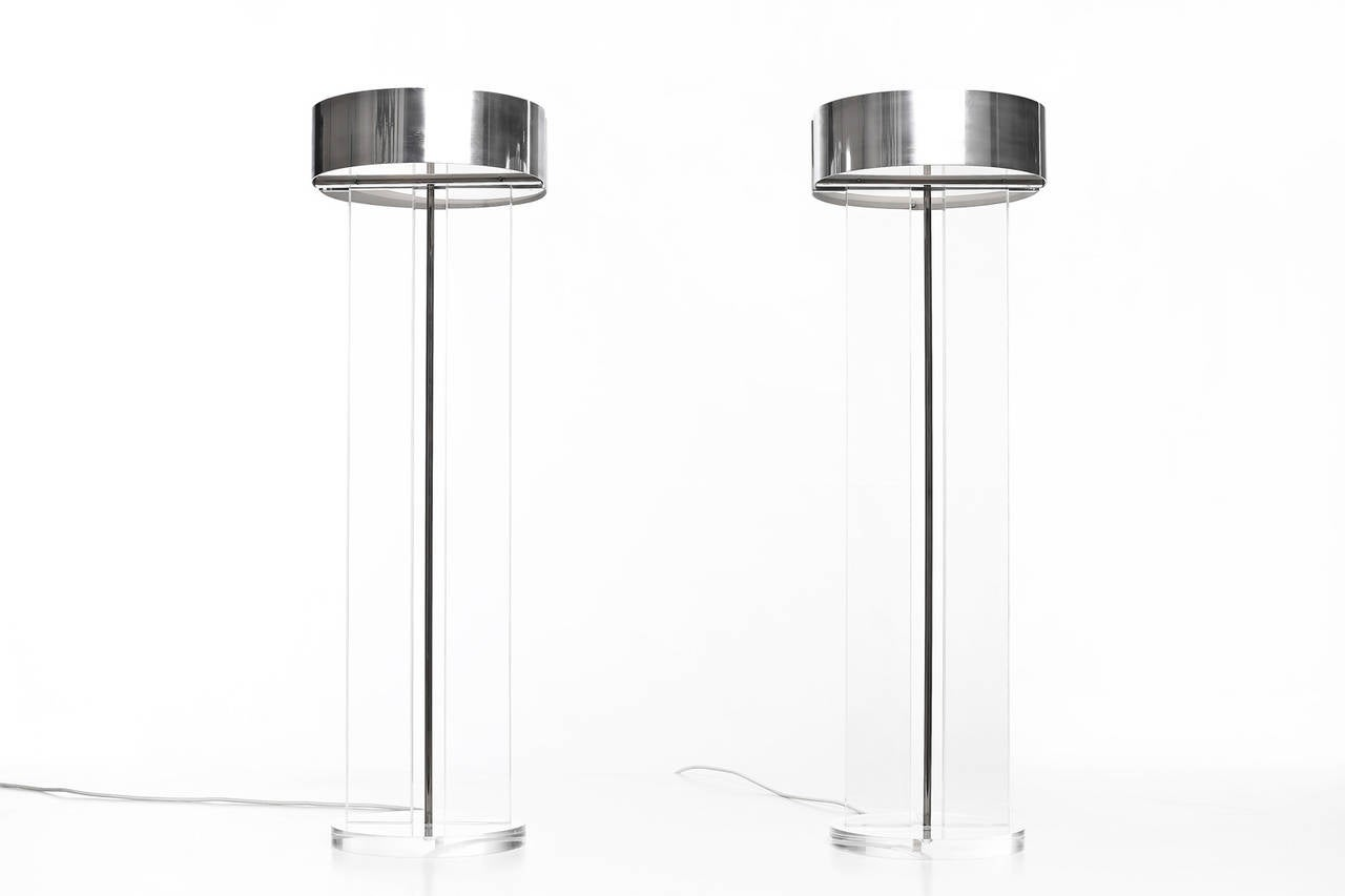 Polished Exclusive Set of Large Lucite Table Lamps