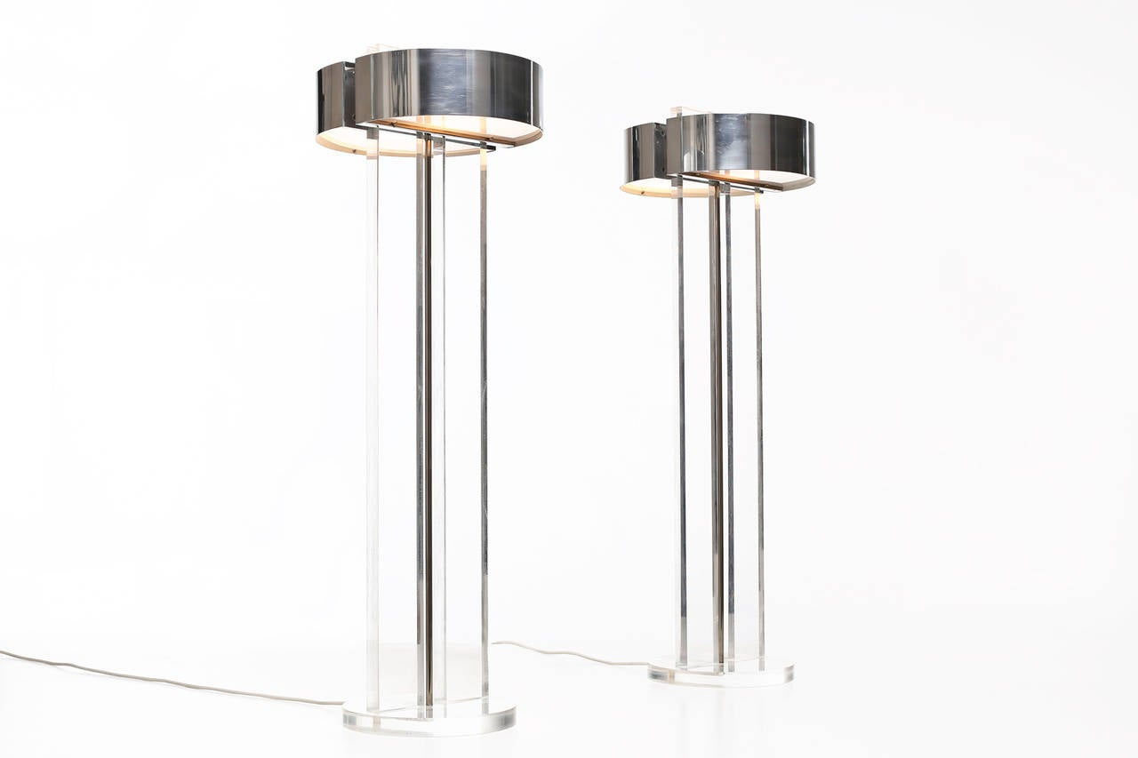 Stunning set of large lucite table lamps / floor lamps, 1970's. Made from thick lucite, polished aluminum shades and opal glass diffusers. Inside each part of the the lamp are two fittings. High Quality in the manner of George Kovacs. In excellent