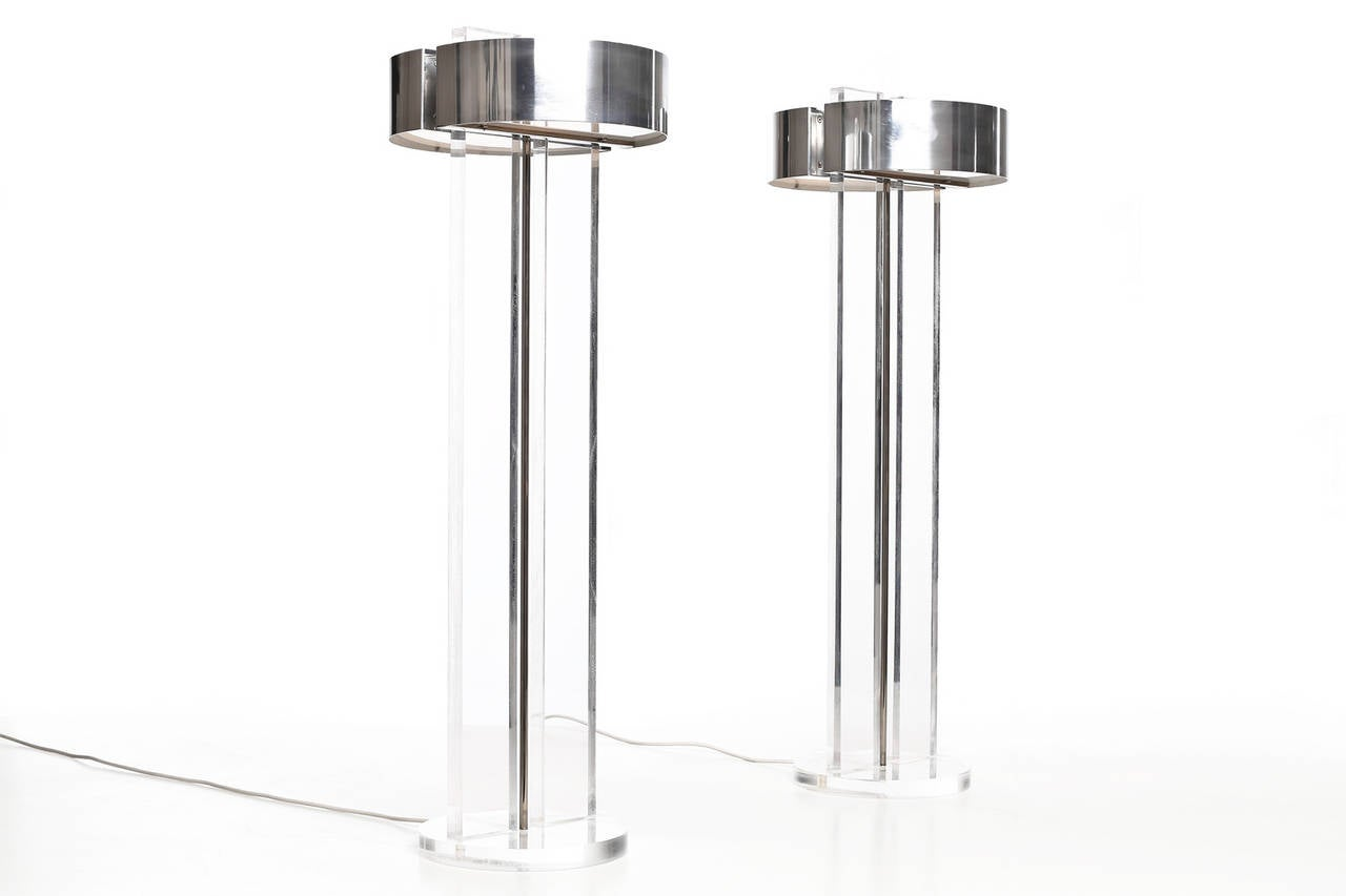 Mid-Century Modern Exclusive Set of Large Lucite Table Lamps