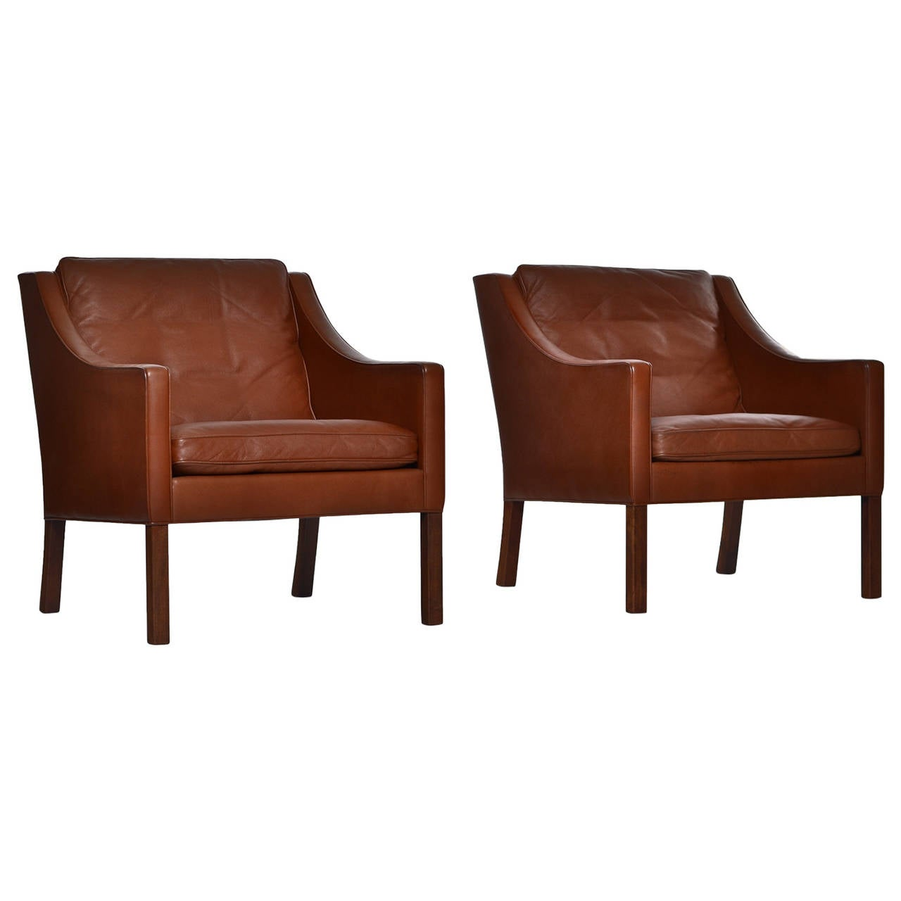 Of four chairs in oak and patinated cognac leather for sale at 1stdibs - Pair Of Cognac Leather B Rge Mogensen Lounge Chairs 1