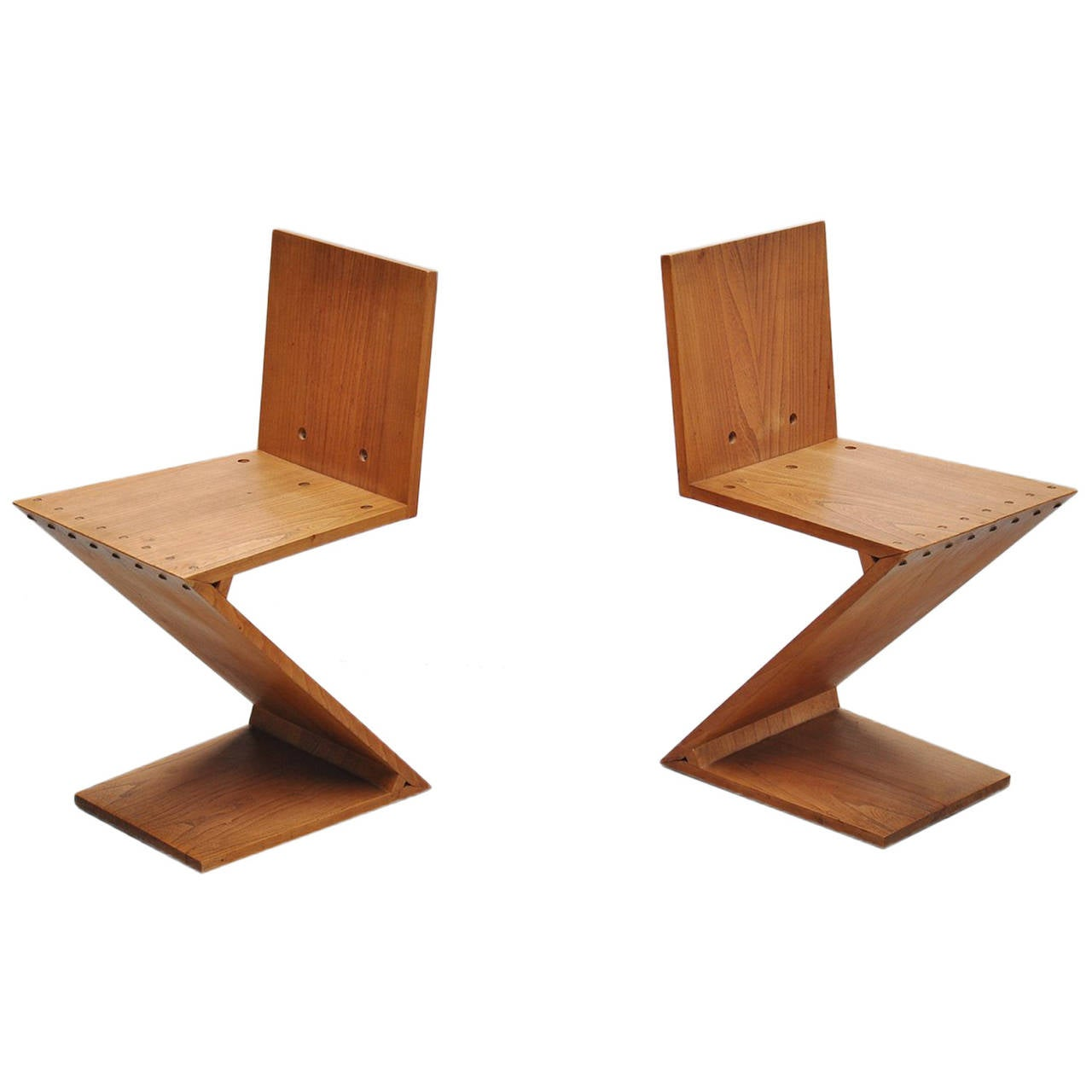 gerrit thomas rietveld zig zag chairs gerard van de groenekan 1950 for sale at 1stdibs. Black Bedroom Furniture Sets. Home Design Ideas