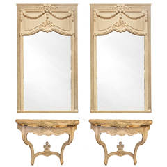 Pair of Matching French Console Tables and Pier Mirrors