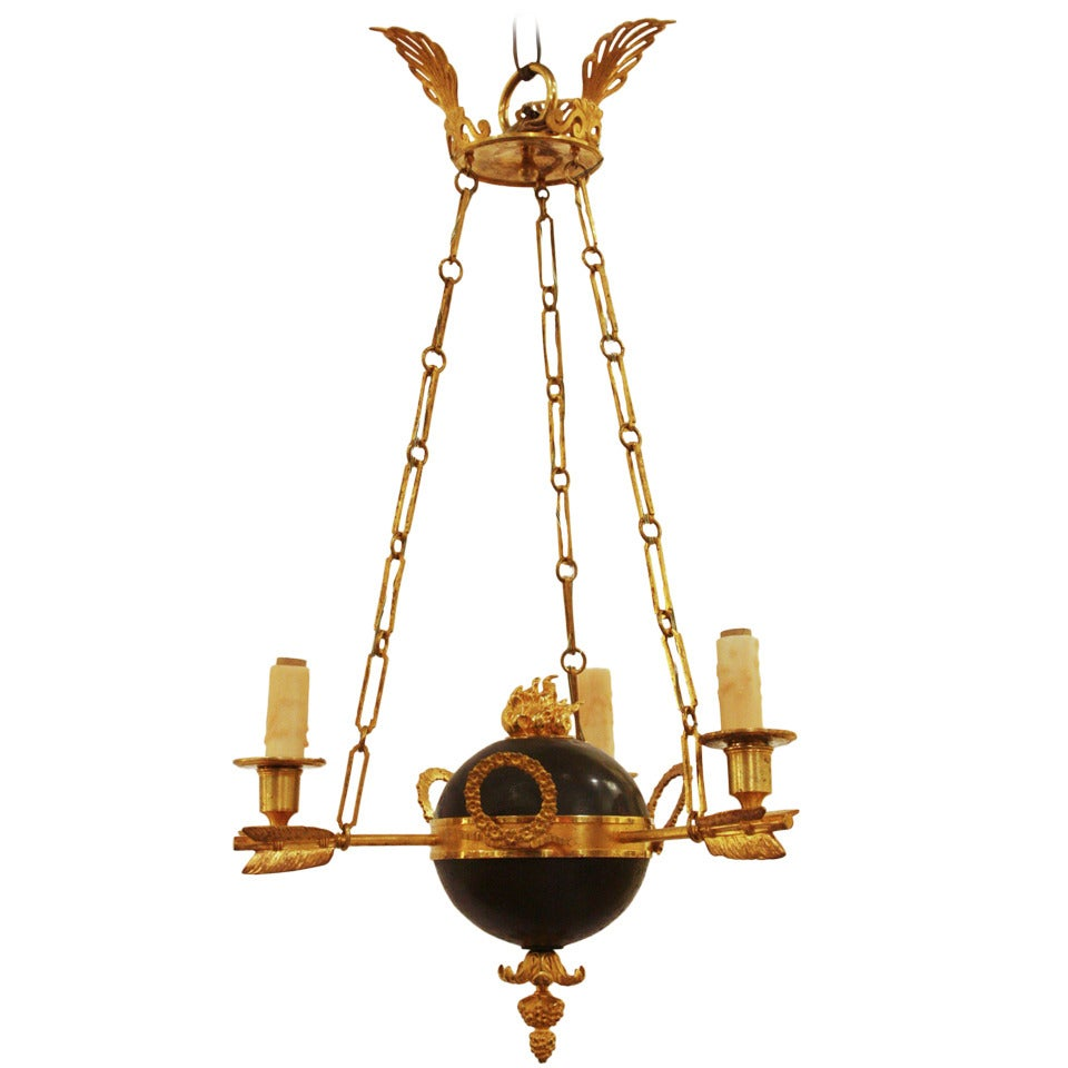 Three-Light Russian Neoclassical Chandelier