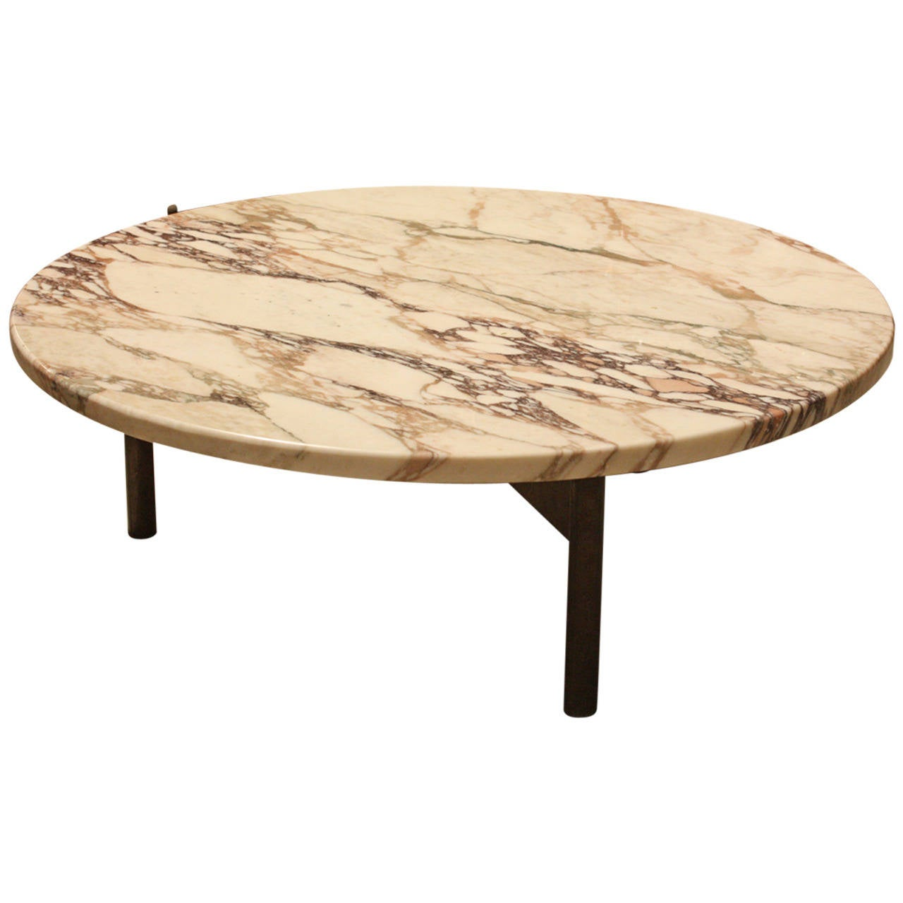 Round Mid Century Marble Topped Coffee Table For Sale