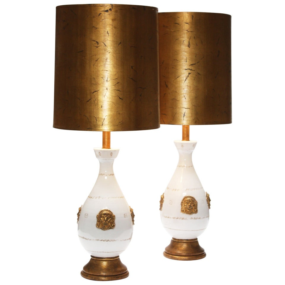 Pair of Important Hand Modeled Ceramic Lamps by Zaccagnini