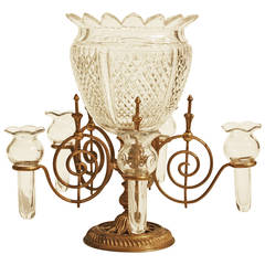 Gilt Metal and Cut Glass Epergne by F.&C. Osler