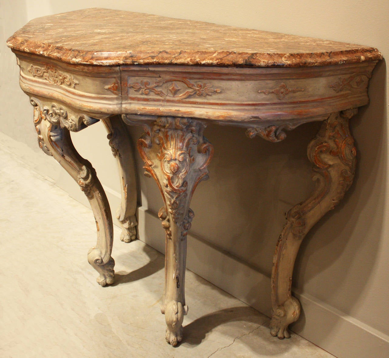 18th century Venetian gray painted and parcel-gilt console with marbleized top. Later modifications. Provenance: Christies.