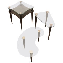 Set of Three Ebonized and Cerused Oak Biomorphic Tables