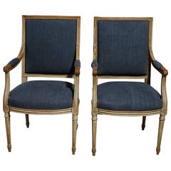 Pair of Painted Louis XVI Style Fauteuils