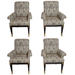 Set of Four Black Lacquer and Brass-Mounted Mastercraft Armchairs