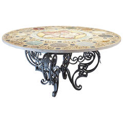 Large Round Inlaid Marble-Top Center Table