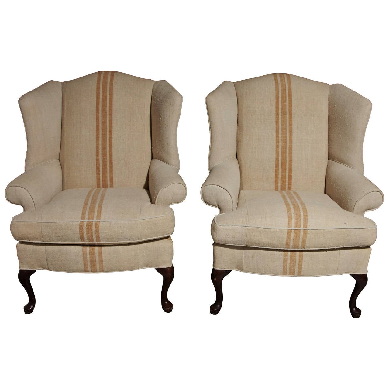 Pair of Queen Anne style Wingback Chairs  sc 1 st  1stDibs & Pair of Queen Anne Style Floral Upholstered Wingback Chairs 20th ...
