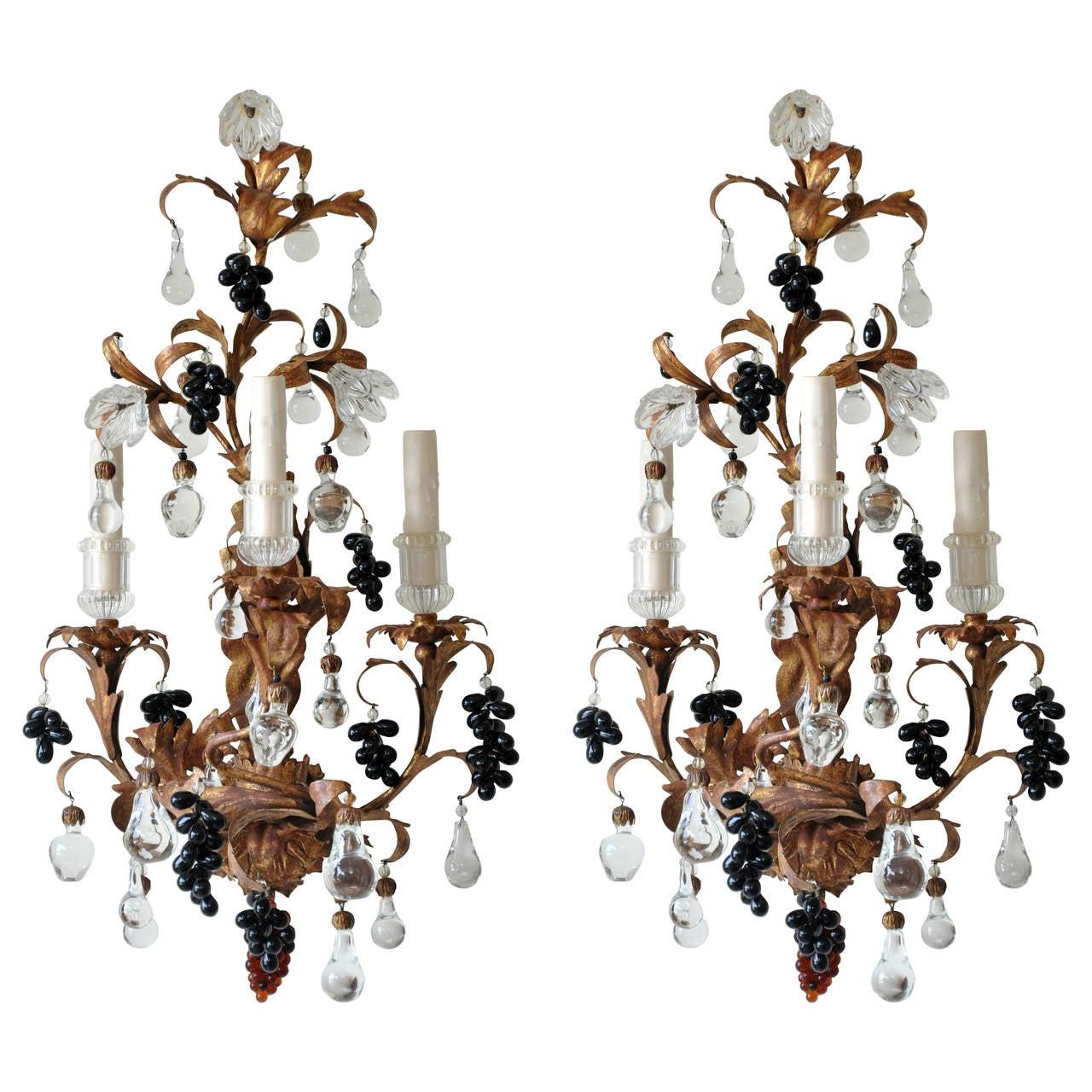 Paul Ferrante 19th Century Gilt Crystal Sconces For Sale