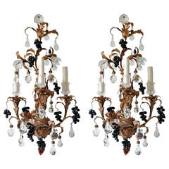 Paul Ferrante 19th Century Gilt Crystal Sconces