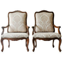 18th Century Louis XV Walnut Armchairs