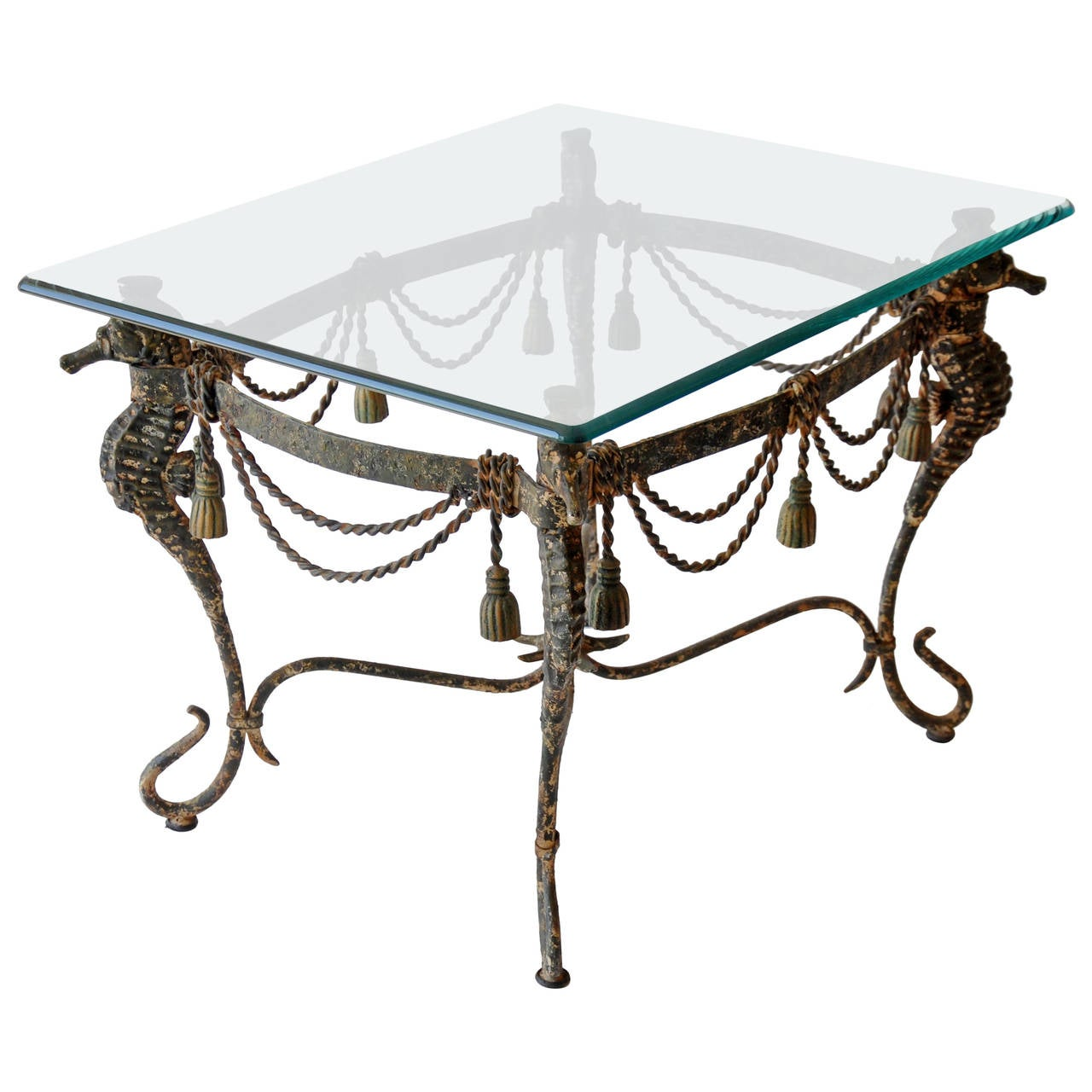 Charming Mid Century Iron Seahorse Table 1