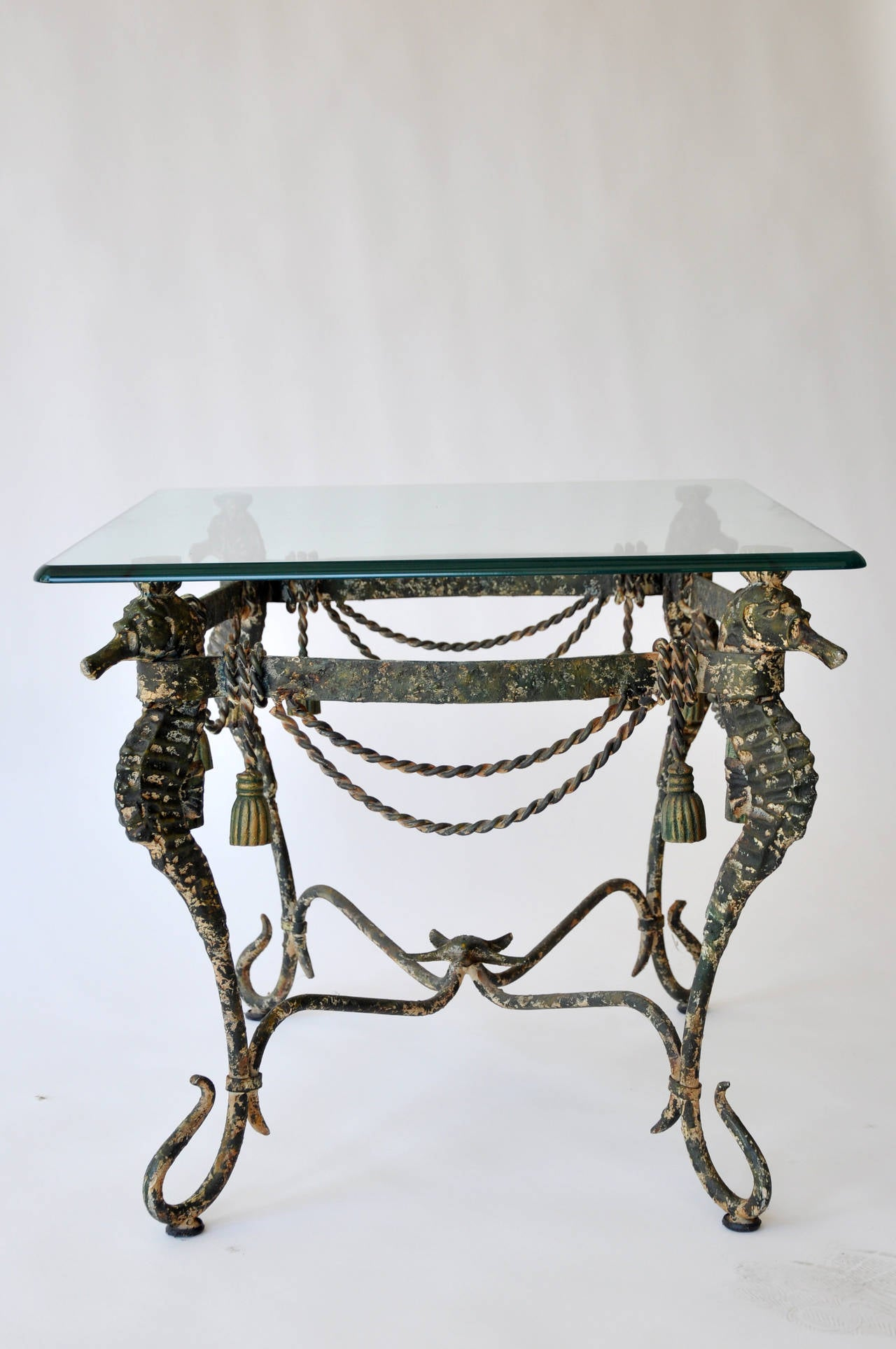 Mid Century Iron Patio Chairs: Mid-Century Iron Seahorse Table For Sale At 1stdibs