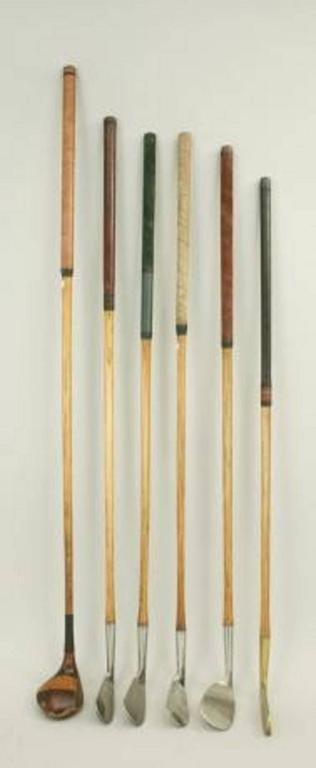 British Set of Six Matched Playable Hickory Golf Clubs