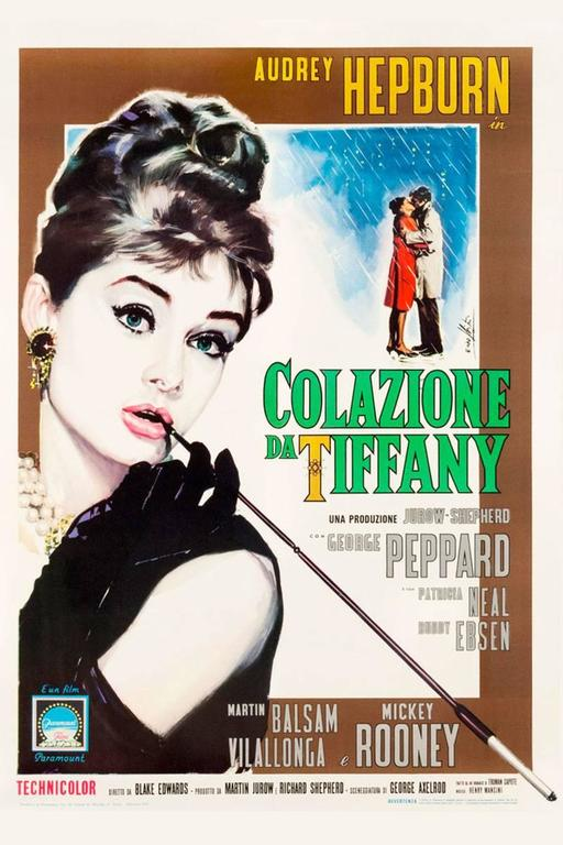 This gorgeous rendering of Audrey Hepburn as Holly Golightly by famous Italian poster artist Enzo Nistri, is perhaps the most beautiful image of Audrey on movie paper! This film was nominated for five Academy Awards, including one for the famous