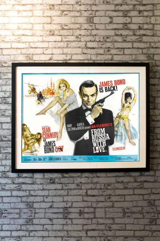 Extremely rare country-of-origin poster for the second in the Bond film series with vastly superior artwork makes this the most desirable poster for this very popular title! Dramatic artwork by Renato Fratini and Eric Pulford graces this quad, an
