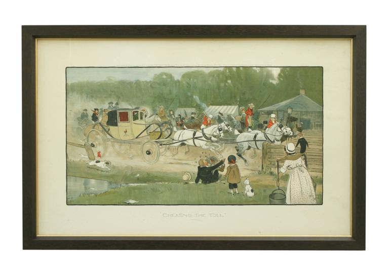 A colorful coaching chromolithographic print after Cecil Aldin entitled, Cheating the Toll. Published by Louis Meyer, The Black & White Gallery, 37 Old Bond Street. W. July 1900. The image depicts a coach racing through the gates to avoid pay the