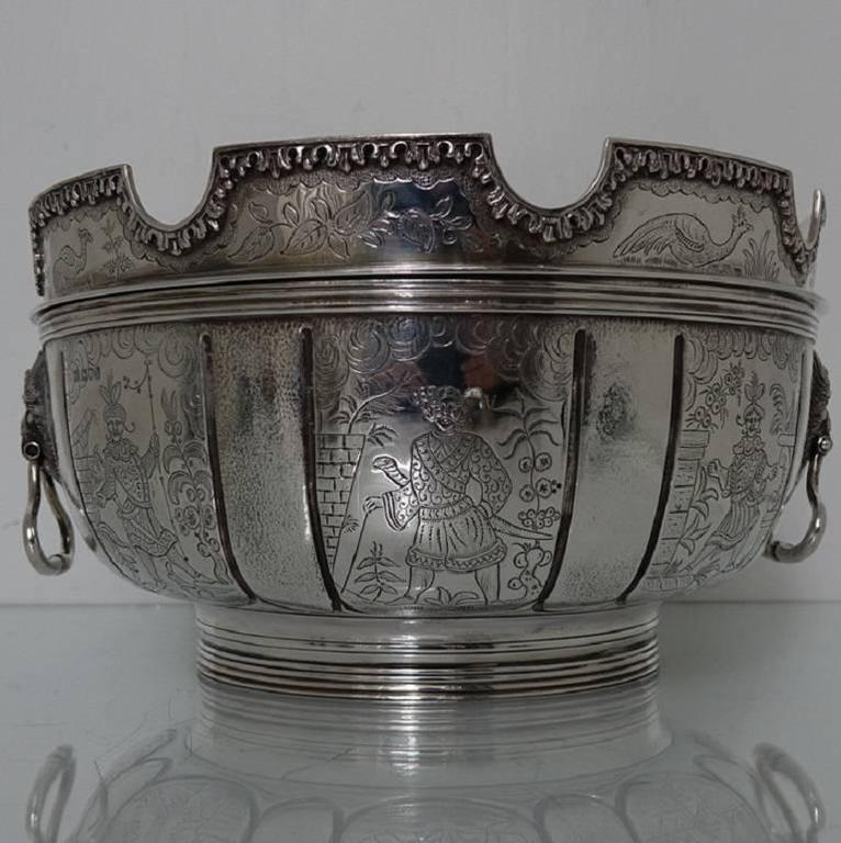 Edwardian Sterling Silver Chinoiserie Bowl London 1905 Daniel And John Wellby For Sale At 1stdibs
