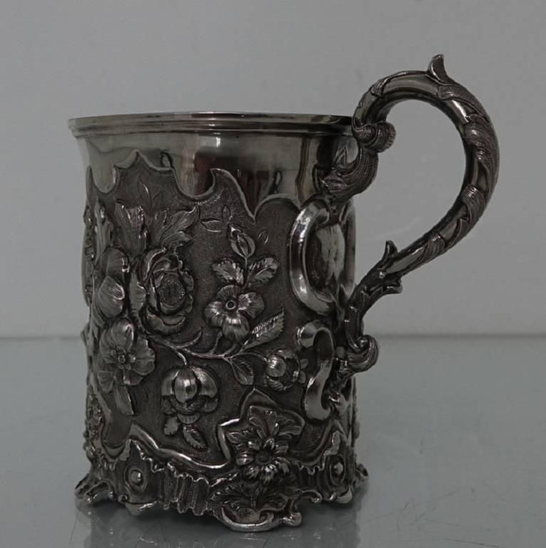 Great Britain (UK) Antique Victorian Sterling Silver Christening Mug, London, 1848, Edward Edwards For Sale