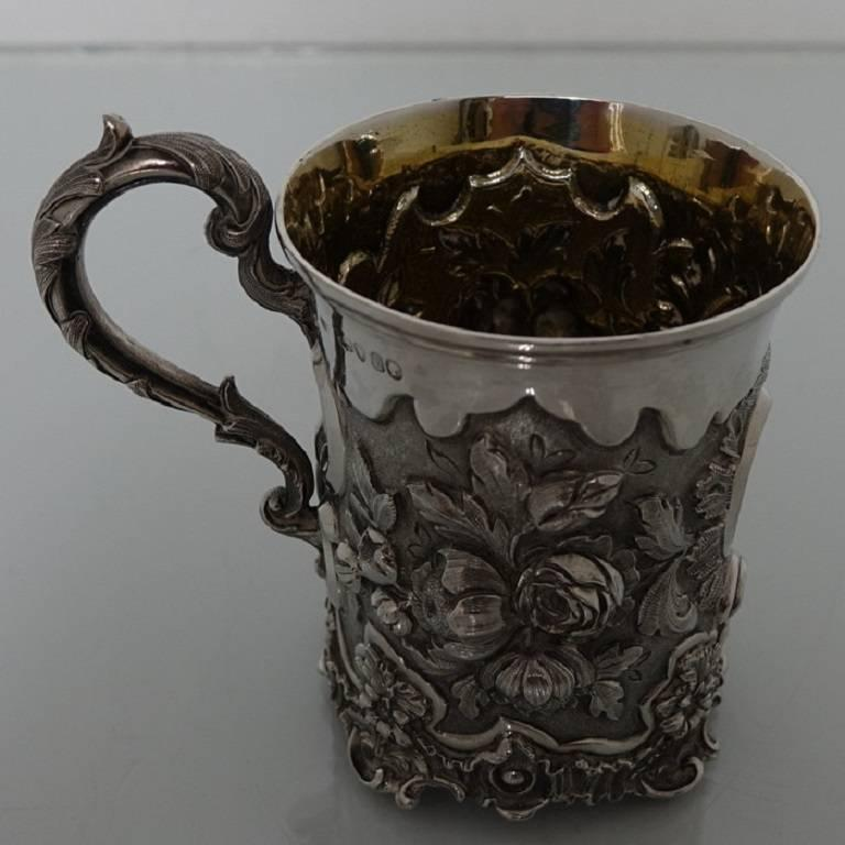 Antique Victorian Sterling Silver Christening Mug, London, 1848, Edward Edwards In Excellent Condition For Sale In 53-64 Chancery Lane, London