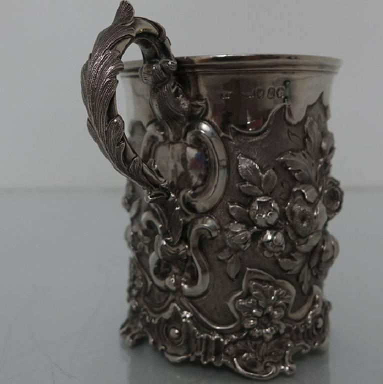 Mid-19th Century Antique Victorian Sterling Silver Christening Mug, London, 1848, Edward Edwards For Sale